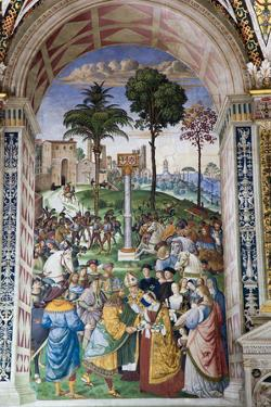Italy, Siena, Siena Cathedral, Enea Silvio Piccolomini and Emperor Frederick III by Samuel Magal