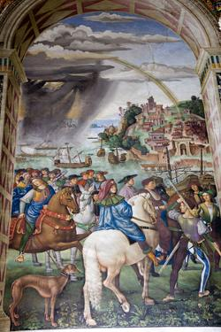 Italy, Siena, Siena Cathedral, Fresco, Aeneas Silvio Piccolomini leaves for the Council of Basel. by Samuel Magal