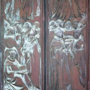 Italy, Siena, Siena Cathedral, Main Facade, Main Door, Bronze Relief, Glorification of the Virgin by Samuel Magal