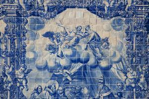 Portugal, Porto, Capela Das Almas, Azulejo, Detail, Saint Francis in front of Pope Honorious III by Samuel Magal