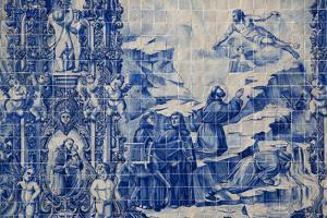 Portugal, Porto, Capela Das Almas, Azulejo, Detail, St. Francis receives the Stigmata by Samuel Magal