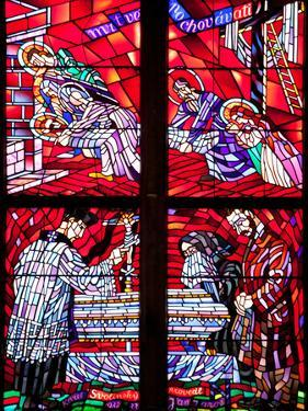 Prague, St. Vitus Cathedral, Chapel of the Holy Sepulcher, Stained Glass Window, Acts of Mercy by Samuel Magal
