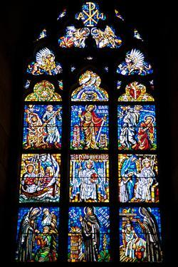 Prague, St. Vitus Cathedral, Southwestern Entrance Hall, Stained Glass Window by Samuel Magal