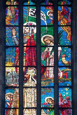 Prague, St. Vitus Cathedral, Stained Glass Window, Chevet Southern Window by Samuel Magal