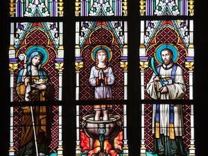Prague, St. Vitus Cathedral, Stained Glass Window, St. Agnes of Bohemia, St. Vitus, St. Sarcander by Samuel Magal