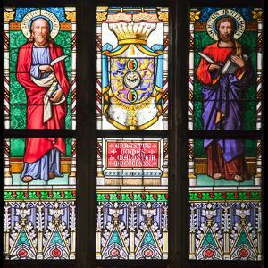 Prague, St. Vitus Cathedral, Stained Glass Window, St Bartholomew, St Matthew by Samuel Magal