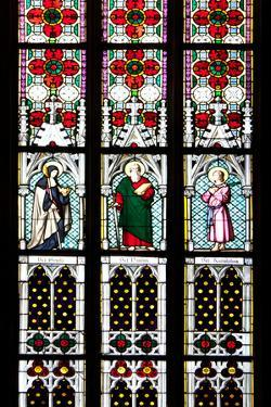 Prague, St. Vitus Cathedral, Stained Glass Window, St Gisela, St Paul, St Rudolph by Samuel Magal