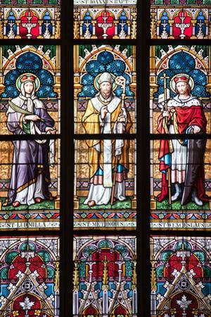 Prague, St. Vitus Cathedral, Stained Glass Window, St. Ludmilla, St. Methodius and St. Wenceslaus