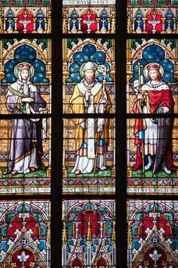 Prague, St. Vitus Cathedral, Stained Glass Window, St. Ludmilla, St. Methodius and St. Wenceslaus by Samuel Magal