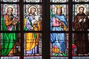 Prague, St. Vitus Cathedral, Stained Glass Window, St Luke, St Joseph, St Sigismund, St Guilelmus by Samuel Magal
