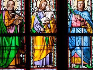 Prague, St. Vitus Cathedral, Stained Glass Window, St. Luke, St. Joseph, St. Sigismund by Samuel Magal