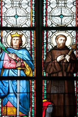 Prague, St. Vitus Cathedral, Stained Glass Window, St. Sigismundus, St. Guilelmus. by Samuel Magal