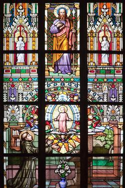 Prague, St. Vitus Cathedral, Stained Glass Window, St Thomas, St Anthony Kneeling before Baby Jesus by Samuel Magal