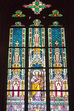 Prague, St. Vitus Cathedral, Stained Glass Window, St Thomas by Samuel Magal