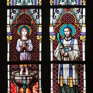 Prague, St. Vitus Cathedral, Stained Glass Window, St. Vitus, St. Sarcander by Samuel Magal