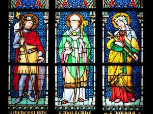 Prague, St. Vitus Cathedral, Stained Glass Window, St. Wenceslaus, St Wolfgang, St Joanna by Samuel Magal
