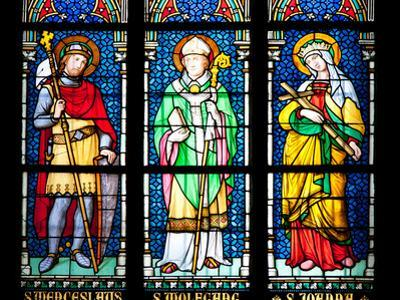Prague, St. Vitus Cathedral, Stained Glass Window, St. Wenceslaus, St Wolfgang, St Joanna