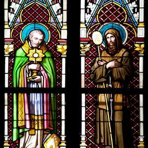 Prague, St. Vitus Cathedral, Stained Glass Window, Two Standing Holy Men by Samuel Magal