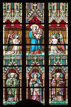 Prague, St. Vitus Cathedral, Stained Glass Window, Virgin Mary Holding Baby Jesus. by Samuel Magal