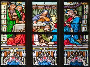 Prague, St. Vitus Cathedral, Stained Glass Window, Woman washes Jesus' Feet by Samuel Magal