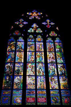 Prague, St. Vitus Cathedral, Thunov Chapel, Stained Glass Window, Psalms, Psalm 126:5 by Samuel Magal