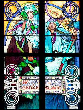 Prague, St. Vitus Cathedral, Window in the New Archbishop Chapel, Mucha Stained Glass Window by Samuel Magal