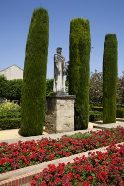 Spain, Andalusia, Cordoba, Alcazar of Cordoba, Statue of King Ferdinand by Samuel Magal