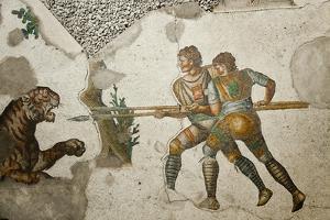 Turkey, Istanbul, Great Palace Mosaic Museum, Roman Mosaic, Tiger Hunt by Samuel Magal