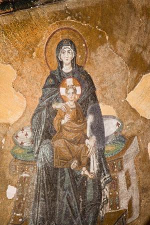 Turkey, Istanbul, Hagia Sophia, Apse, Half Dome, Mosaic of The Virgin