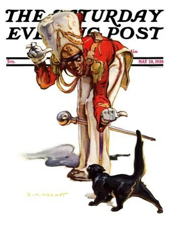 """""""Drum Major and Black Cat,"""" Saturday Evening Post Cover, May 28, 1938"""