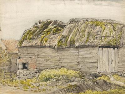 A Barn with a Mossy Roof, Shoreham (W/C with Brown Wash, Ink, Gouache and Pencil on Paper) by Samuel Palmer