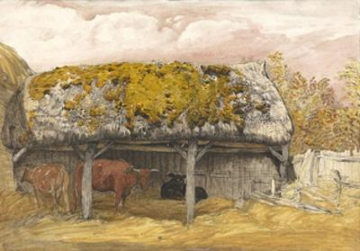A Cow Lodge with a Mossy Roof, C.1829 (Pen and Ink with W/C and Gouache on Paper) by Samuel Palmer