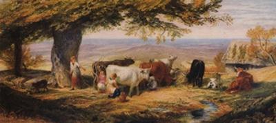 Milking in the Field, c1847 by Samuel Palmer