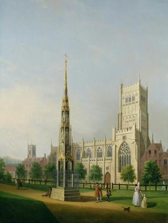 A View of Bristol High Cross and Cathedral, C.1750