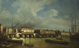 A View of Old London Bridge with Barges on the Thames by Samuel Scott