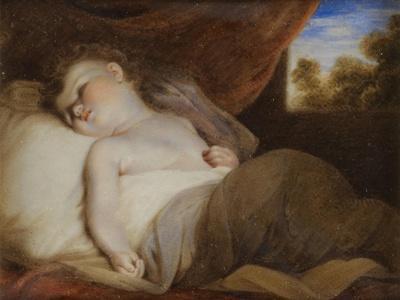 Portrait Miniature of 'A Child Asleep', after Joshua Reynolds