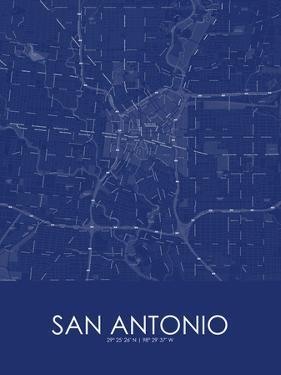 San Antonio, United States of America Blue Map