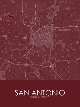 San Antonio, United States of America Red Map