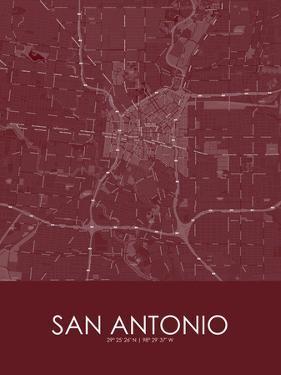 San Antonio, United States of America Red Map