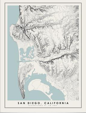 San Diego Topographical Print