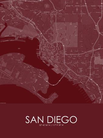 San Diego, United States of America Red Map