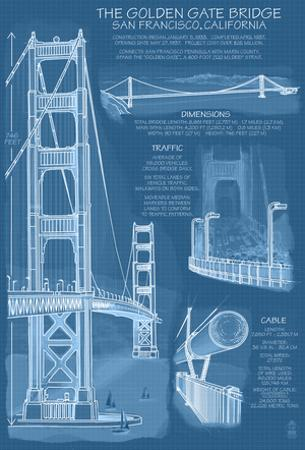 San Francisco, Ca, Golden Gate Bridge Technical Blueprint