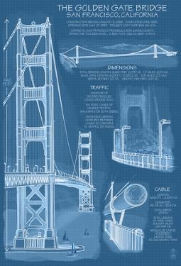 San Francisco, Ca, Golden Gate Bridge Technical Blueprint