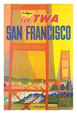 San Francisco - Trans World Airlines Fly TWA - Golden Gate Bridge