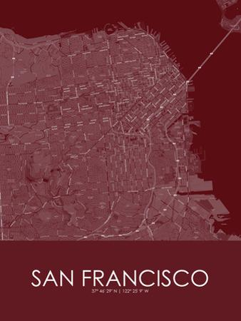 San Francisco, United States of America Red Map