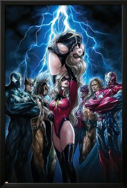 Ms. Marvel No.44 Cover: Ms. Marvel, Spider-Man, Iron Patriot, Wolverine, Ares, Hawkeye and Sentry by Sana Takeda