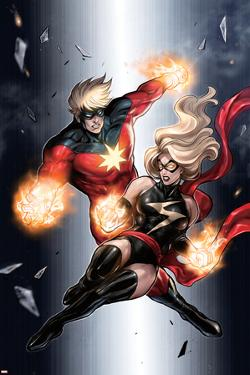 Ms. Marvel No.49 Cover: Ms. Marvel and Captain Marvel by Sana Takeda