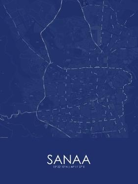 Sanaa, Yemen Blue Map
