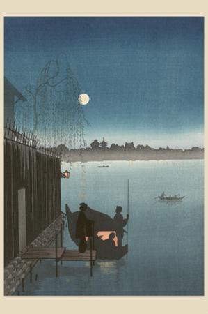 Sanbashi Bridge in Fukugawa at Night.
