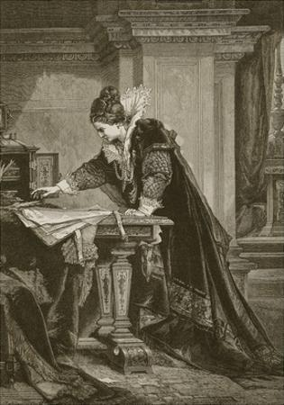 Queen Elizabeth Signing the Death Warrant of Mary Queen of Scots, Engraved by C. Butterworth by Sandor Liezen-Meyer